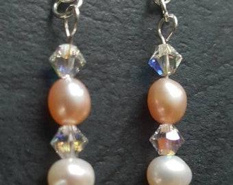Cubic zirconia, swarovski crystal and freshwater pearl earrings