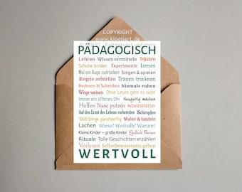 Postcard * Pedagogically Value *-KLÖNART-FOR Teachers, Educators, Pedagogical Professionals