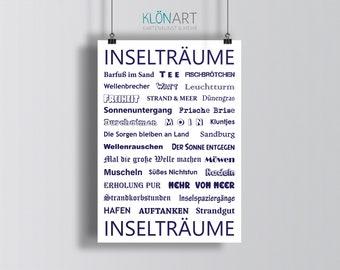 Poster Poster DIN A 4 * ISLAND DREAMS * - Maritim - Island - KLÖNART