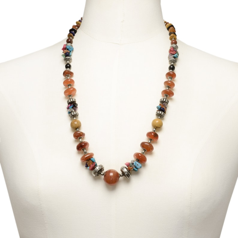 Vintage Tibetan Necklace Decorated With Various Gemstones Including Carnelian Beads