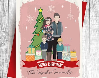 Personalized Christmas Card - Family Portrait - Printable Art, Digital Download, Custom Illustration
