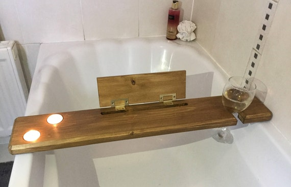 Wooden bath tray-bath board-wooden bath caddy-wine glass | Etsy