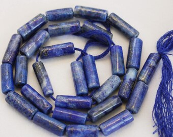 Lapis Heishi Top Quality Hand Cut Afghan Tube Shape Beads Strand 13 inches