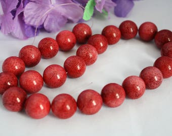 """19mm Natural Sponge Coral Beads, Warm, Cinnabar Color, Approximately 15.5"""" Long"""