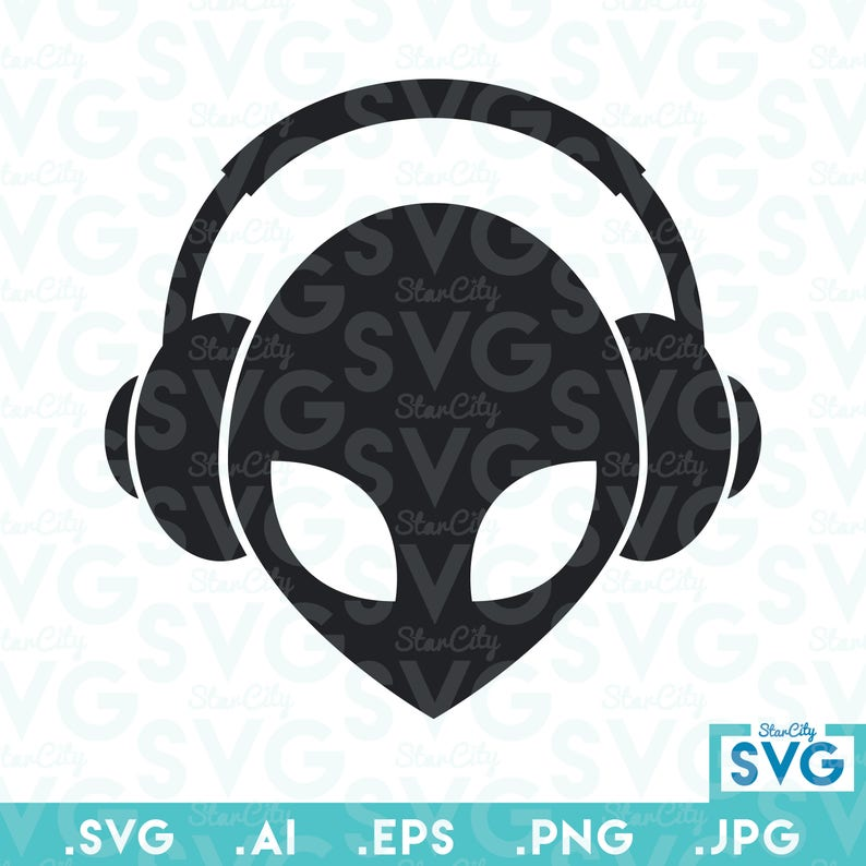 Alien SVG Vector file, Vector cutting file, SVG cutting files, Alien SVG,  Alien Cut File, Music Alien, Headphones, Commercial use svg files