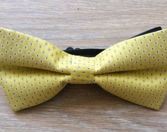Wedding prom bowties formal groomsmen Bow tie yellow patterned jacquard bow tie with strap Adjustable strap w hook and bar Wholesale bowtie