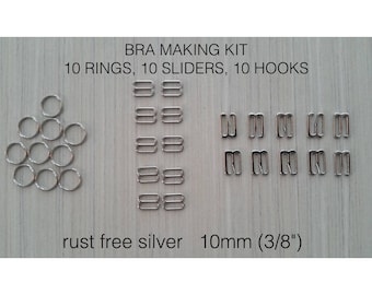 30 pieces including 10 rings, 10 sliders, 10 hooks. Bra making supplies. Strap adjuster set. Lingerie making. Burlesque costume supplies.