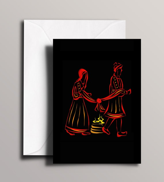 Indian Wedding Card Sacred Fire Greeting Card Happy Couple Etsy