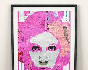 Princess Leia Star Wars Pop Art (Limited Edition of 100) - A3 Vintage Woman Pink Poster Street Art Print Decor Graffiti Wall Art Gift Rare