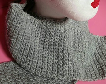 Crocheted grey scarf