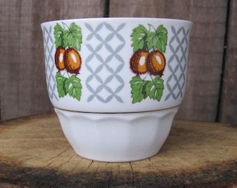 80s Vintage Mug; Soviet Vintage Pottery Cup; Retro Faience Handleless Mug with Gooseberry print made by Riga Porcelain Factory; USSR Vintage