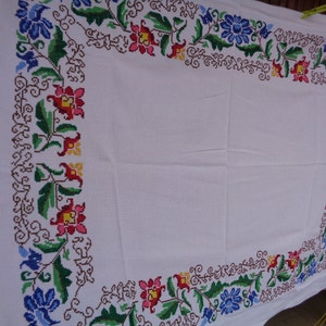 Vintage Table Runner with Cross Stitch Embroidery 6.5x 47 Narrow Table Runner; Woven Selvedge Runner with Red /& Green Floral Embroidery