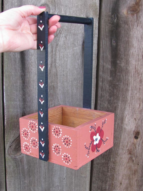 Vintage Wooden Planter Rustic Planter Box Shabby Chic Home Decor Rustic Centerpiece Small Hand Painted Board Planter Rustic Home Decor