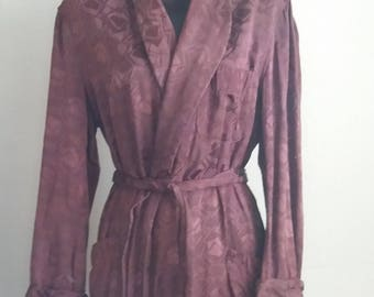 Vintage 1950s/60s RABHOR Mahogany Robe with attached fringed sash Rayon