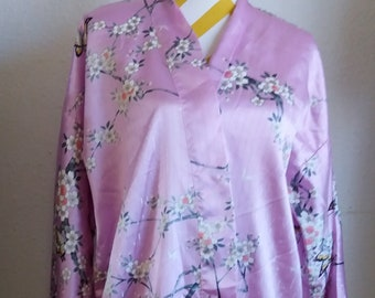 Vintage 1970s/80s MASUKY brand Kyoto-Tokyo Japanese All Silk Lavender Floral Women's Robe BUTTERFLY Made in JAPAN