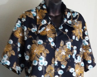 Vintage unbrand Black with White floral designs Men's Hawaiian shirt Aloha shirt