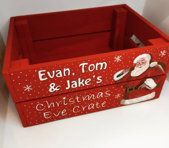 Christmas Crate Box.Father Christmas Crate Christmas Box Christmas Eve Crate
