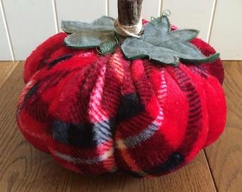 Decorative Pumpkin • Fabric Weighted Pumpkins • Pumpkin Ornament • Fall Autumn Decoration • Tartan Pumpkin