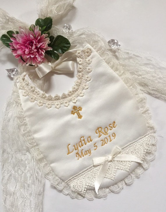 Ivory Christening Dribble Bib Bibs Wedding Dress Embroidery Ivory Angels Fabric