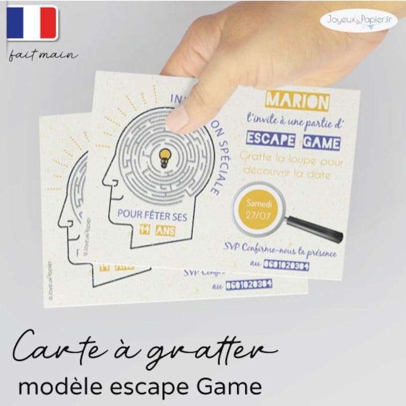 invitation escape game scratch card birthday boy boy 3 handmade models