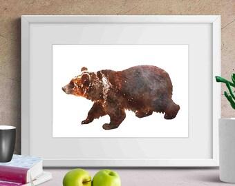 animal printables , woodland printables , bear art print , bear nursery art , bear wall decor , watercolor bear art ,