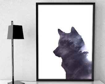 wolf print , wolf wall art ,wolf printable ,  forest animal art , wolf decor , wolf poster , woodland creatures