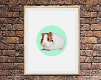 guinea pig art , nursery wall art , animal nursery print , nursery wall decor , nursery animal print