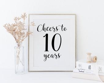 10 year anniversary invitations etsy