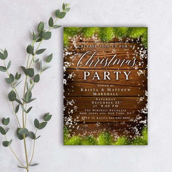 Rustic Christmas Invitation Template Download Christmas Party Etsy