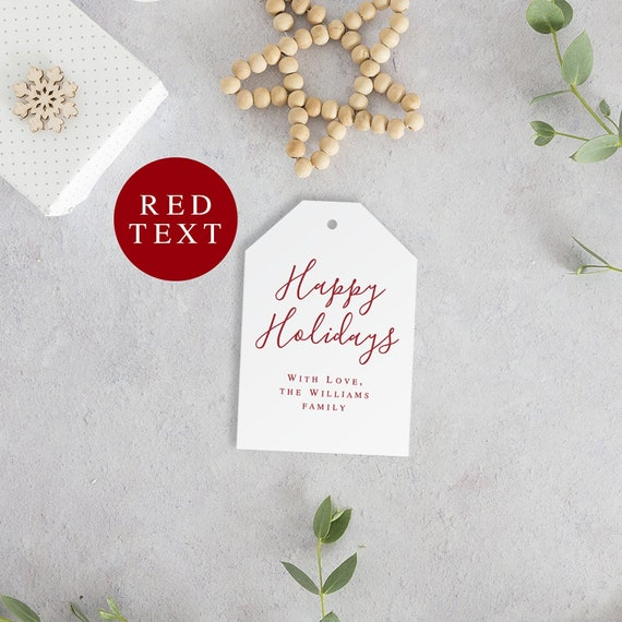 Christmas Gift Tag Template.Happy Holidays Red Christmas Gift Tags Template Holiday Gift Tags Printable Holiday Tags Shristmas Tags Red Christmas Decorations Vmh08053