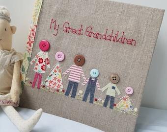 Personalised family photo album, grandchildren photo album, hand embroidered family photo album