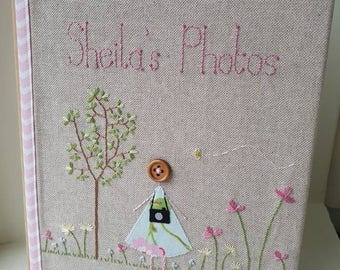 Personalised photo album, hand embroidered linen cover, nature photographer embroidered photo album