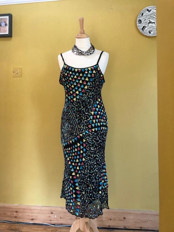 Vintage 1990's Sequin Strappy Bias Cut Slinky Silk