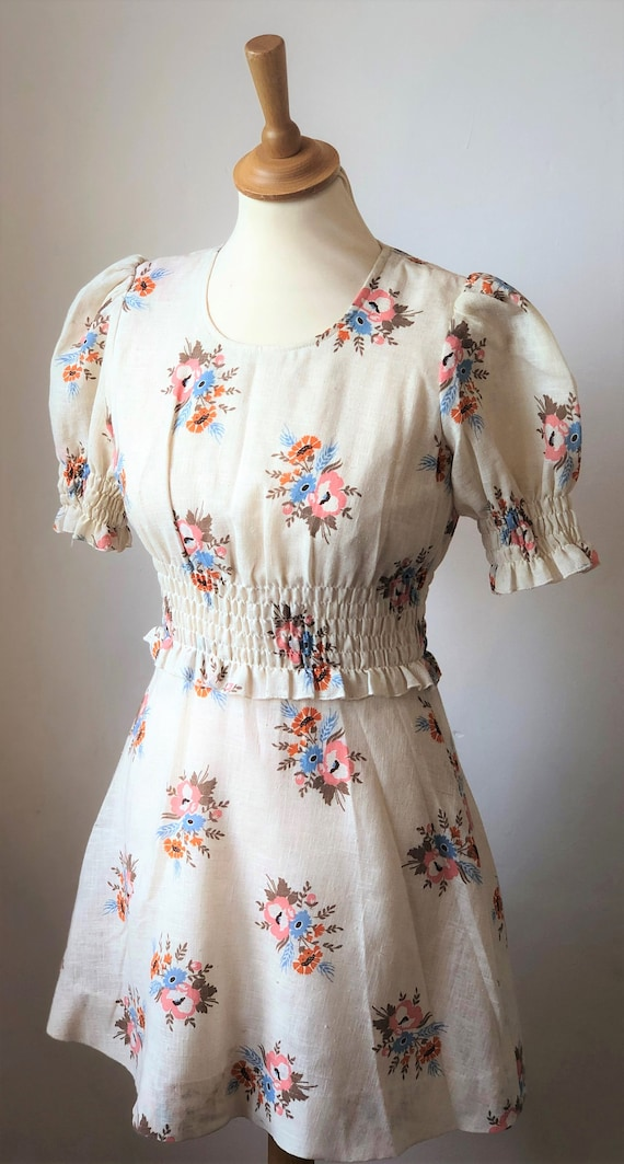 Betty Barclay 70's Vintage Prairie Mini Dress