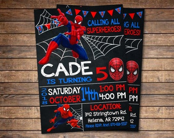 Spiderman invitation etsy popular items for spiderman invitation stopboris Choice Image