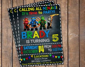 Ninjago Invitation, Ninjago Birthday Invitation, Ninjago Party, Ninjago Invites, Ninjago Invite, Printable