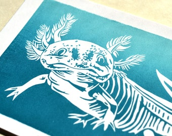 Axolotl linocut with Gradient