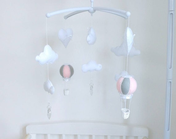 4b10d267d29 ... Musical Cot Baby Mobile - Hot Air Balloon felt Mobile - Crystal Mobile  - Nursey Decor