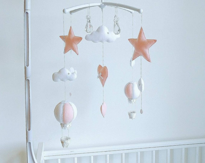 Elegant Pink Baby Mobile, Hot Air Balloon Mobile, Baby Girl Nursery, Crystal Mobile, Star Nursey Decor, Cloud Mobile, Pink & White Nursery
