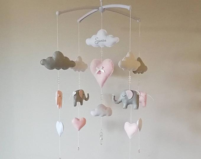 Elephant Baby Mobile, Musical Cot Mobile, Pink Nursey Decoration, Cot Mobile, Elegant Mobile, Luxury Nursery Decor, Cloud Baby Gift, Vegan