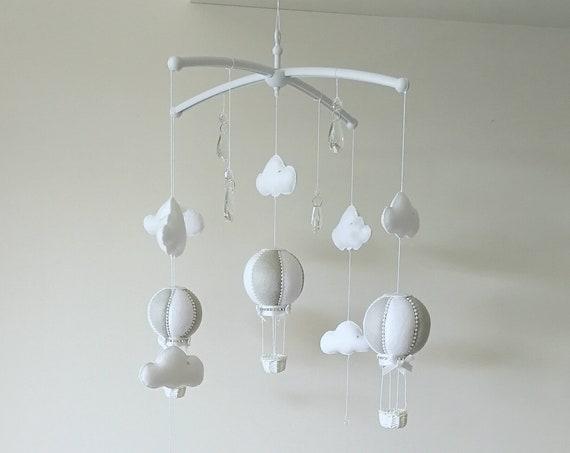 Grey White Baby Mobile, Cloud Nursery Decor Cot Mobile, Hot Air Balloon, Crystal Nursery Decoration, Monochrome Design, Vegan