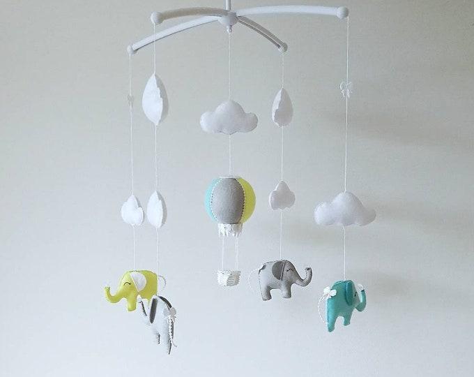 Elephant Baby Mobile, Hot Air Balloon Mobile, Elegant Nursey Decor, Mint Baby Mobile, Yellow Mint And Grey, Cloud Mobile, Vegan Friendly