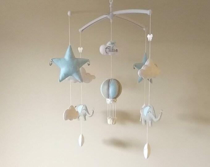 Musical Cot Mobile, Babyshower Gift, Hot Air Balloon Mobile, Boy Bedroom Decor, Blue Elephant Nursery, Star Hanging Decoration, Vegan