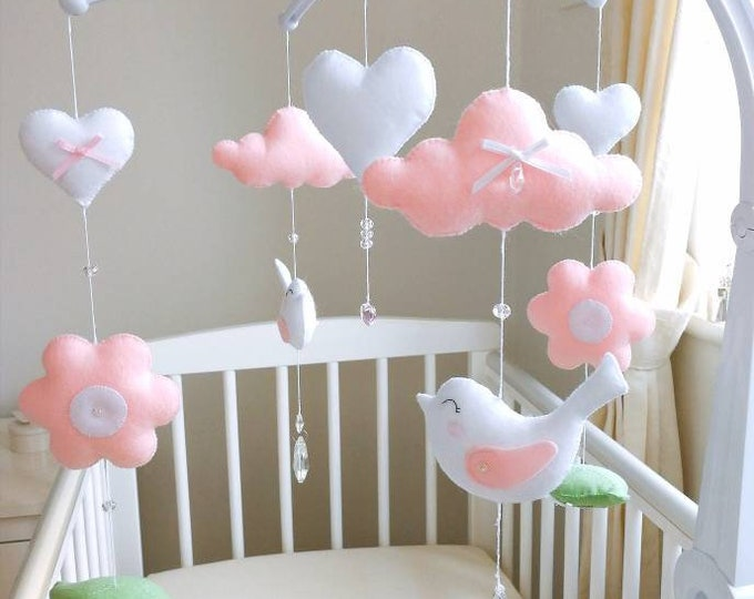 Baby Flower Bird Mobile, Girl Cot Mobile, Floral Decoration, Elegant Nursery Decor, Crystal Baby Mobile, Babyshower Gift, Vegan,
