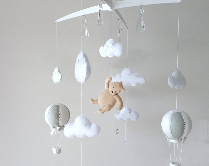 Featured listing image: Grey White Baby Cot Mobile, Cloud Nursery Decor, Hot Air Balloon Mobile, Music Mobile, Classic Bear, Monochrome Design, Vegan