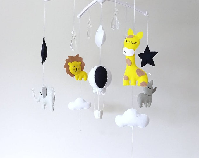 Safari Baby Mobile, Musical Cot Mobile, Hot Air Balloon Decor, Elegant Baby Mobile, Animal Nursery, Giraffe Lion Rhino Elephant, Vegan