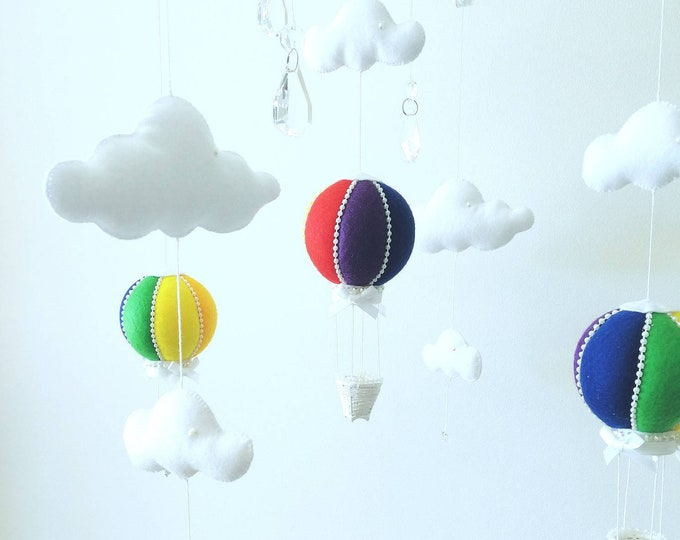 Baby Rainbow Mobile,  Cot Mobile, Hot Air Balloon Mobile, Crystal Mobile, Rainbow Baby, Cloud Mobile, Rainbow Nursey, Vegan Friendly