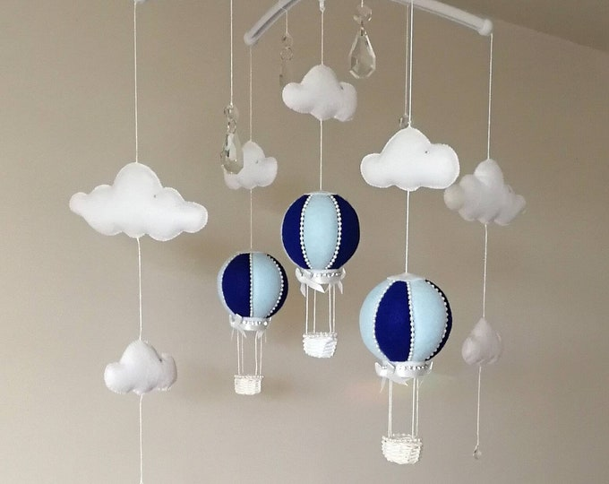 Cot Baby Mobile, Boy Room Decoration, Hot Air Balloon Mobile, Crystal Mobile, Blue Nursey Decor, Baby Boy Cloud Mobile, Blue Nursery