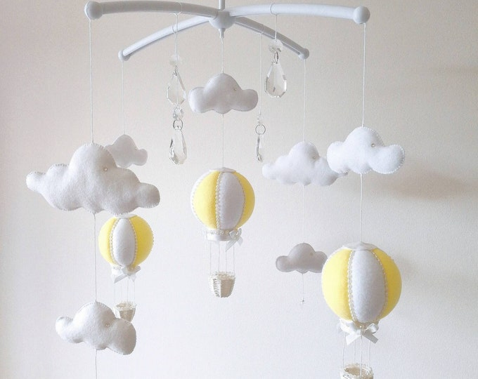 Lemon Baby Mobile, Musical Cot Mobile, Hot Air Balloon Decor, Elegant Baby Mobile, Baby Girl Nursey, Yellow & White Nursery, Vegan Friendly