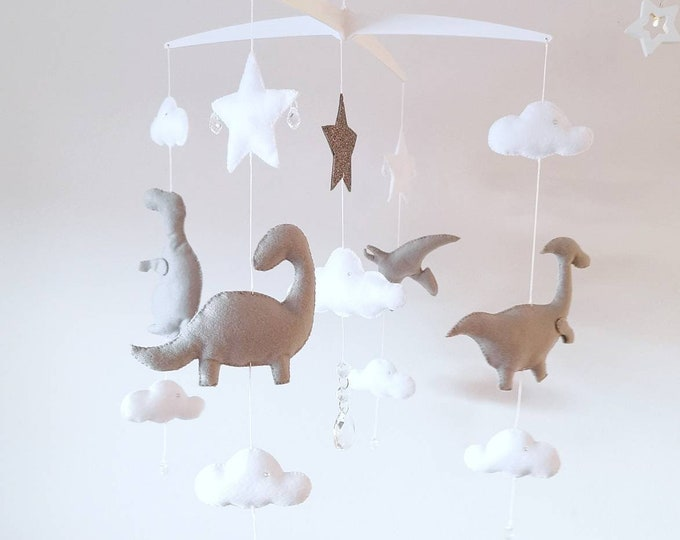 Grey Dinosaur Baby Mobile, Musical Cot Mobile, Ceinling hanging, Dinosaur, Elegant Baby Mobile, Dino Nursery, Grey and white Baby Room